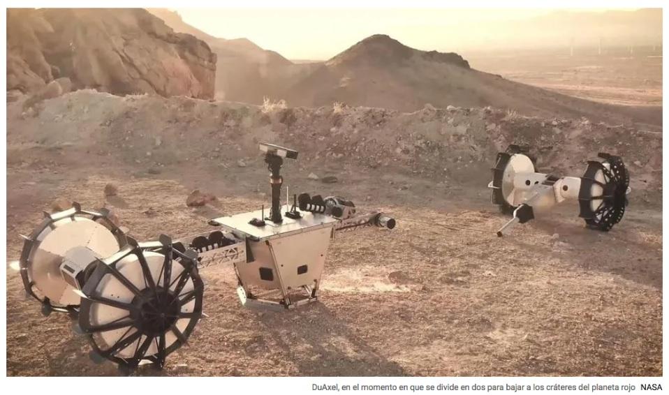 DuAxel, el primer robot de la NASA que hará rápel por los cráteres de Marte