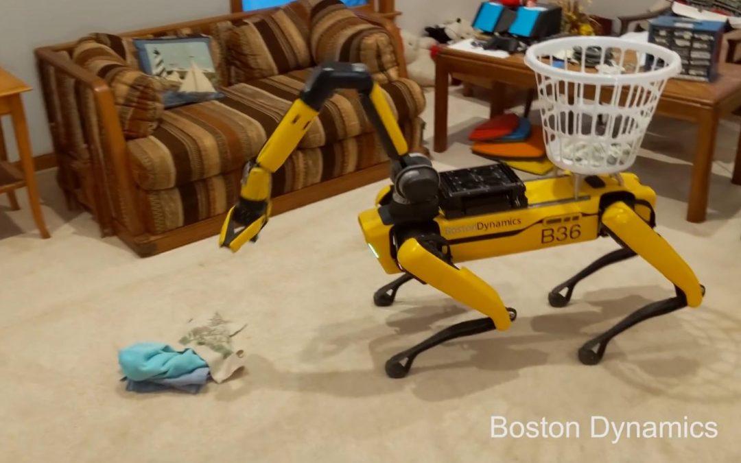 Al Robot de Boston Dynamics le crece un brazo y se convierte en jardinero, portero y empleado de la limpieza